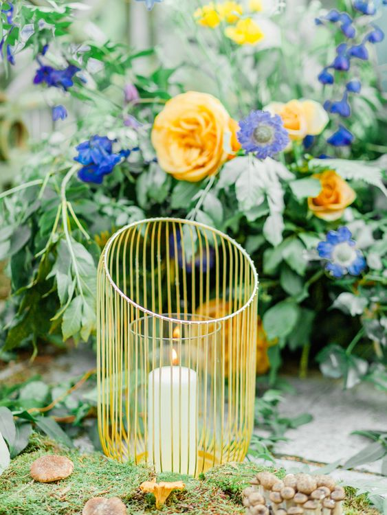 Yellow Candle Holder with Blue & Yellow Wedding Flowers