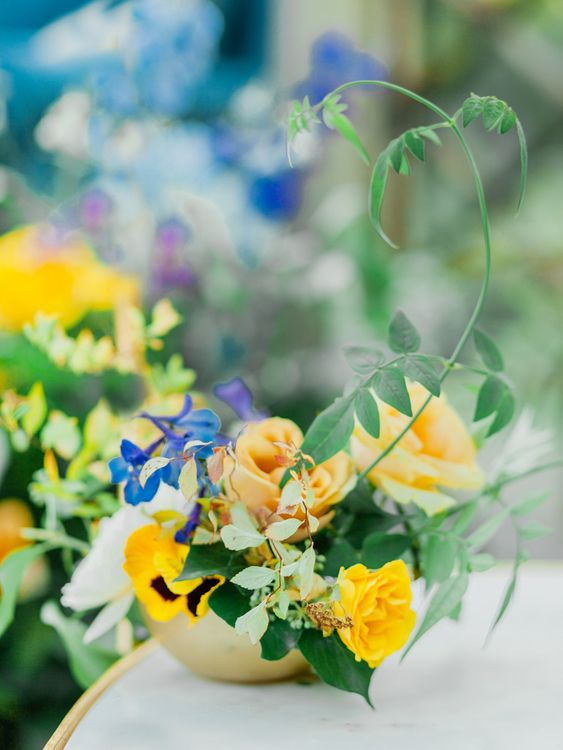 Blue, Yellow and Foliage Flower Arrangement