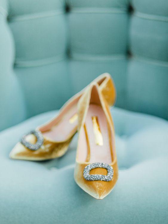 Yellow Velvet Wedding Shoes with Diamanté Buckle