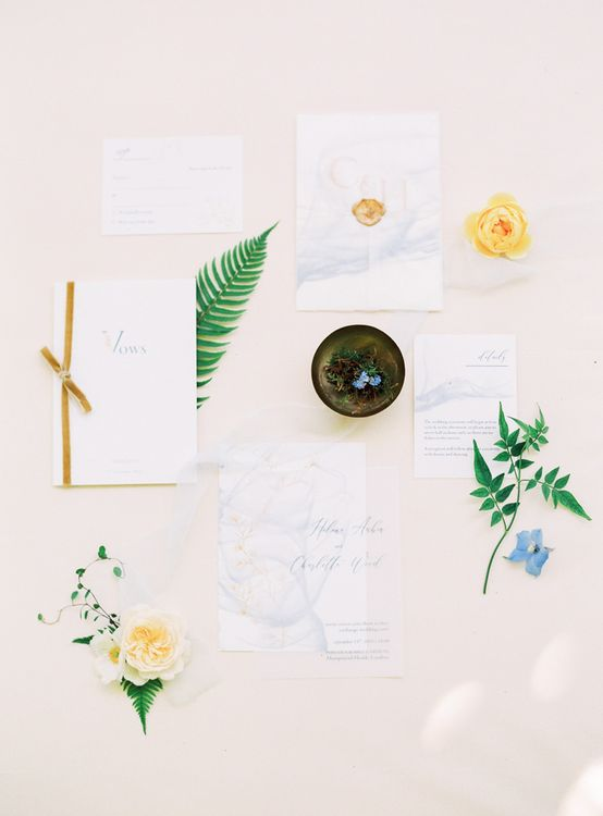 Wedding Stationery Suite with Velvet Ribbon and Wax Seal