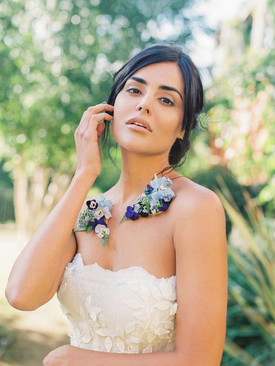 Beautiful Bride with Blue Flower Collar