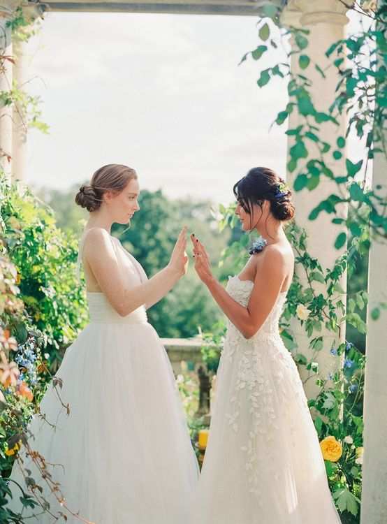 Two Brides Same Sex Wedding Couple in Tulle and Applique Wedding Dresses