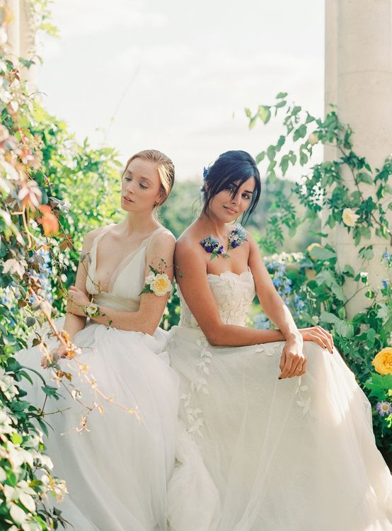Two Brides in Dreamy Tulle and Applique Wedding Dresses