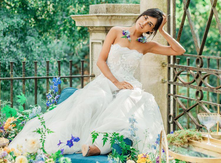 Bride in Off the Shoulder Applique Wedding Dress with Flower Collar
