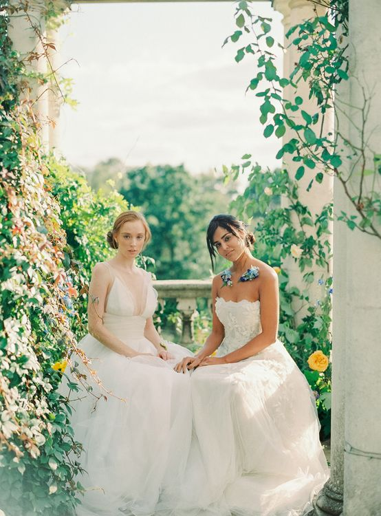 Two Bride in Ethereal Tulle and Applique Gowns from The Wedding Club London