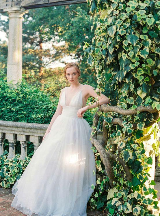 Bride in Tulle Wedding Dress at Hampstead Heath