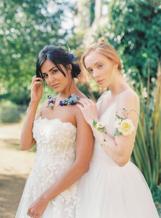 Two Brides Same Sex Wedding Couple with Floral Necklace & Wrist Corsage