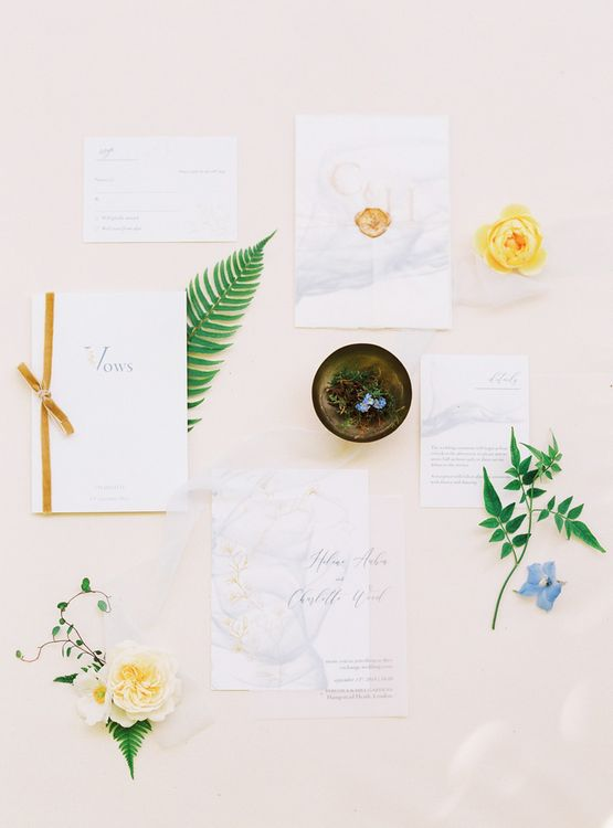 Delicate Wedding Stationery Suite with Velvet Bow and Wax Seal Details