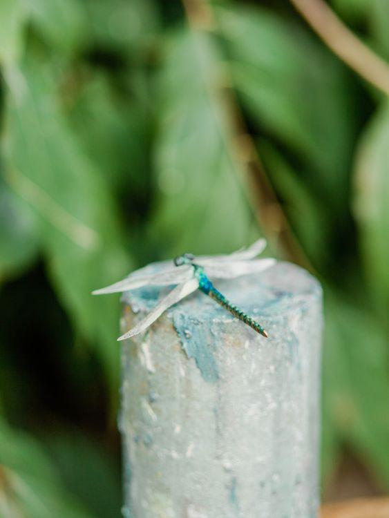 Dragonfly Cake Topper on Blue Single Tier Wedding Cake