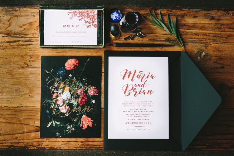 Black Wedding Stationery with Floral Motif and Red Font