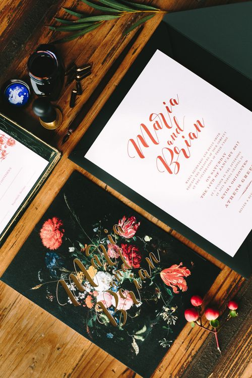 Wedding Stationery Suite with Floral Motif and Gold Foil Font