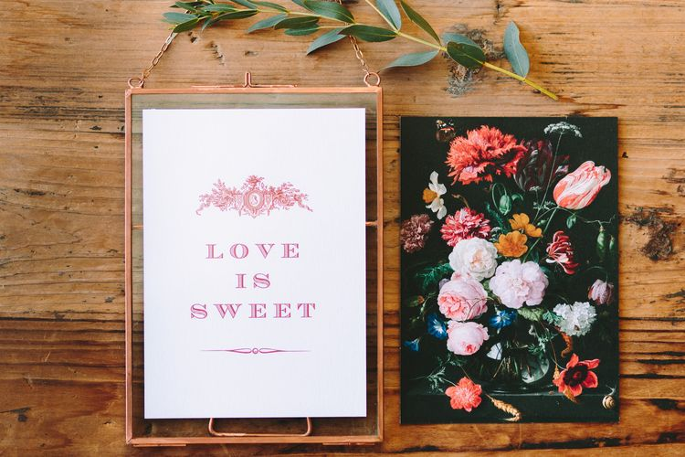Love Is Sweet Wedding Sign in a Copper Frame