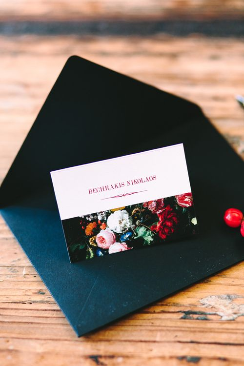 Name Place Card with Floral Print