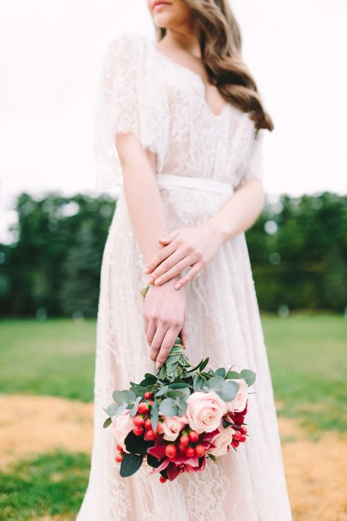 Romantic Wedding Bouquet with Pink and Red Flowers
