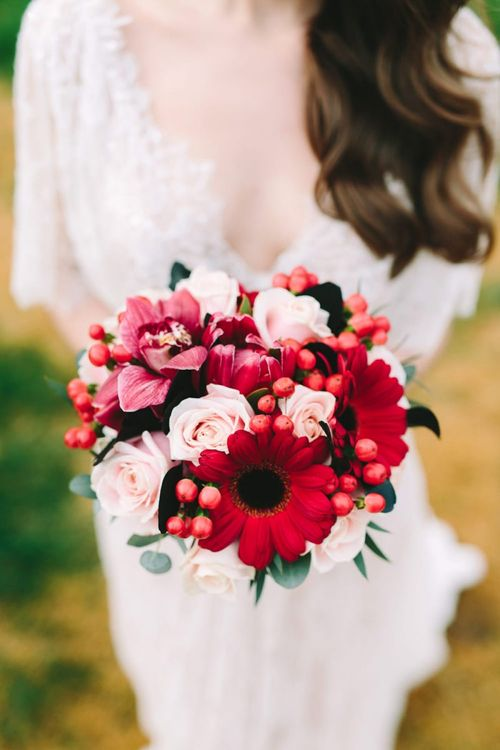 Pink and Red Bridal Bouquet with Gerberas and Roses
