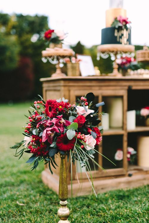 Tall Red and Pink Wedding Flowers