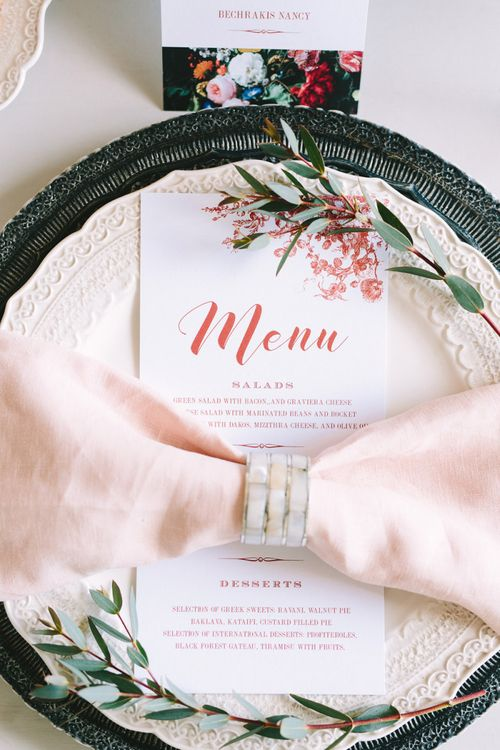 Black and Red Place Setting with Menu Card