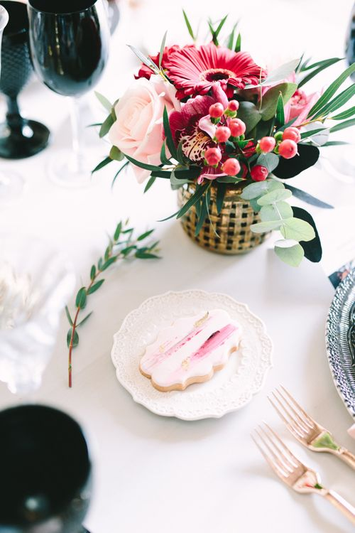Biscuit Wedding Favour on Side Plate