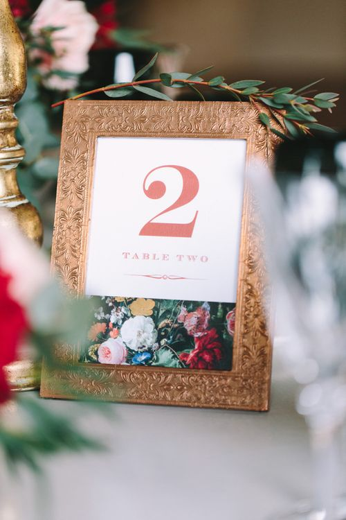 Ornate Gold Frame with Floral On The Day Table Number Sign