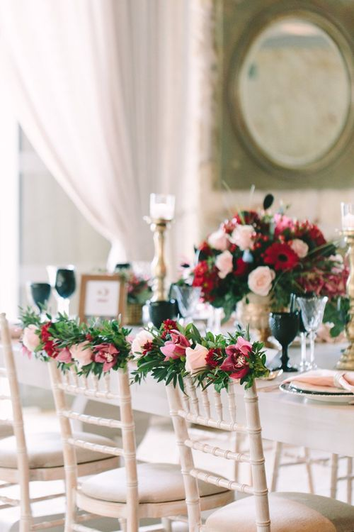 Red and Pink Chair Back Wedding Flower Decoration