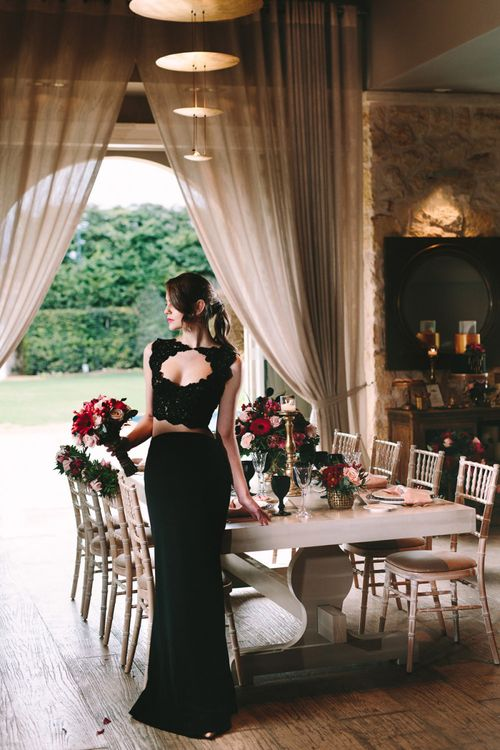 Stylish Bride in Black Bridal Separates