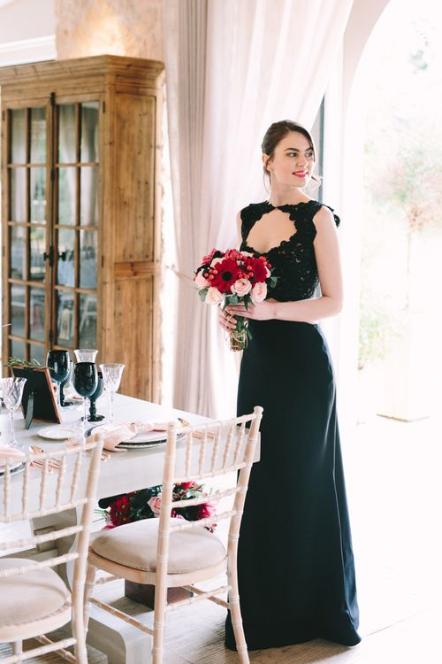 Bride in Black Wedding Dress with Key Hole Front Detail