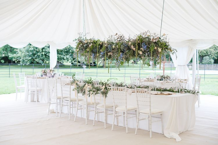 Hanging Floral Installation For Marquee Wedding // Image By  Weddings By Nicola And Glen