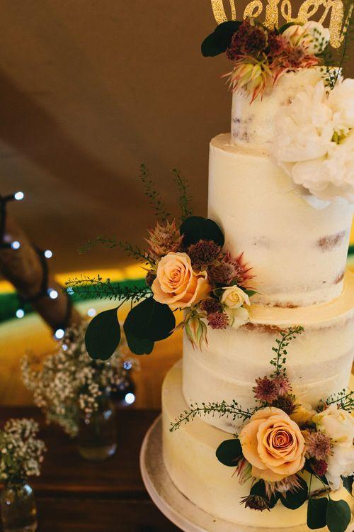 Semi Naked Wedding Cake // Image By Jason Williams Photography