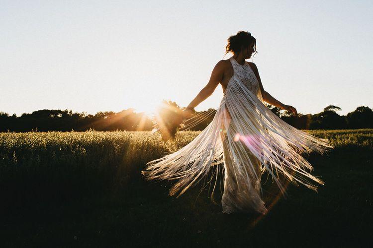 Fringed Wedding Dress By Yolan Cris // Image By Jason Williams Photography