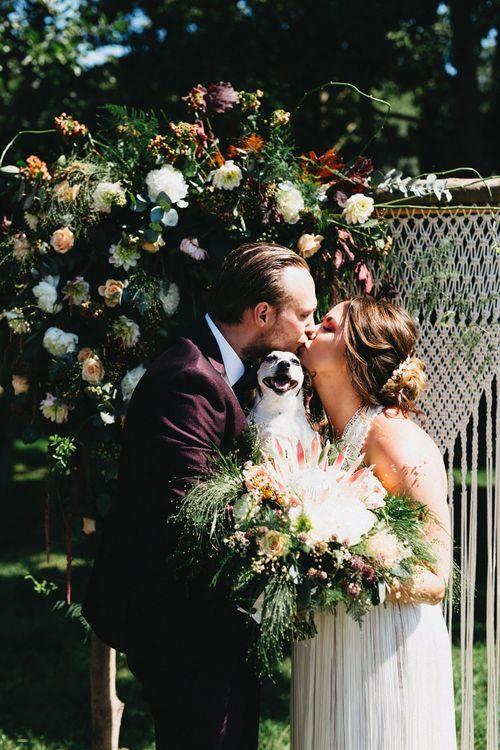 Macrame Aisle Backdrop For Wedding // Image By Jason Williams Photography