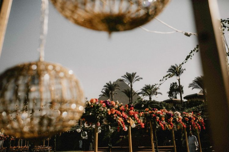 Egypt wedding with bright flowers
