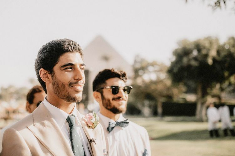 Groom sees bride at ceremony at Egypt wedding