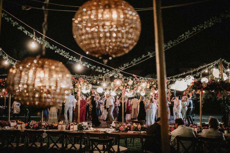 Festoon lighting at Egypt wedding