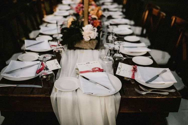 Beautiful table decor with bright wedding flowers