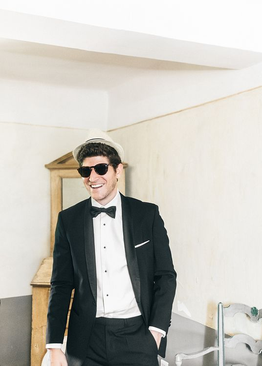 Groom in Black Tie Suit   Outdoor Wedding at Commanderie de Peyrassol, Provence, France Styled by La Chuchoteuse   Lace Bridal Gown   Black Tie Suit   Rustic Stretch Tent Reception   Raisa Zwart Photography