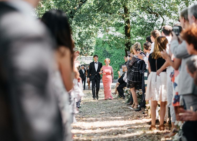 Outdoor Wedding Ceremony at Commanderie de Peyrassol, Provence, France Styled by La Chuchoteuse   Lace Bridal Gown   Black Tie Suit   Rustic Stretch Tent Reception   Raisa Zwart Photography