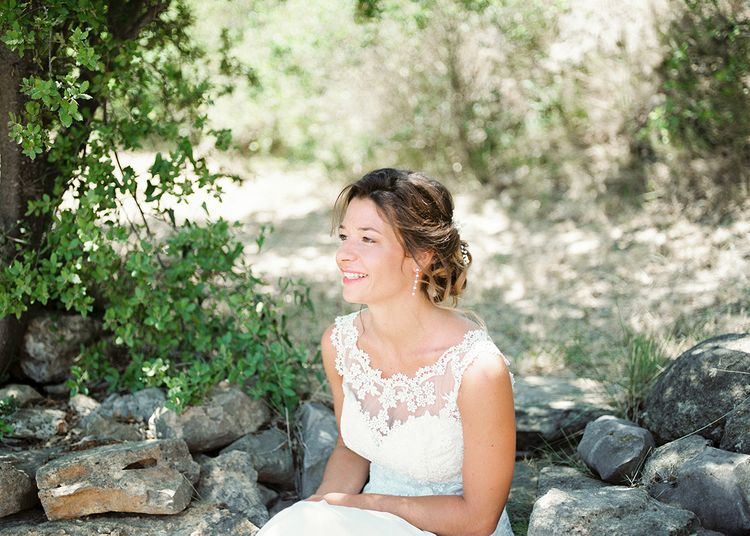Elegant Bride in Lace Wedding Dress   Outdoor Wedding at Commanderie de Peyrassol, Provence, France Styled by La Chuchoteuse   Lace Bridal Gown   Black Tie Suit   Rustic Stretch Tent Reception   Raisa Zwart Photography