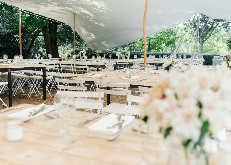 Stretch Tent Wedding Reception   Outdoor Wedding at Commanderie de Peyrassol, Provence, France Styled by La Chuchoteuse   Lace Bridal Gown   Black Tie Suit   Rustic Stretch Tent Reception   Raisa Zwart Photography