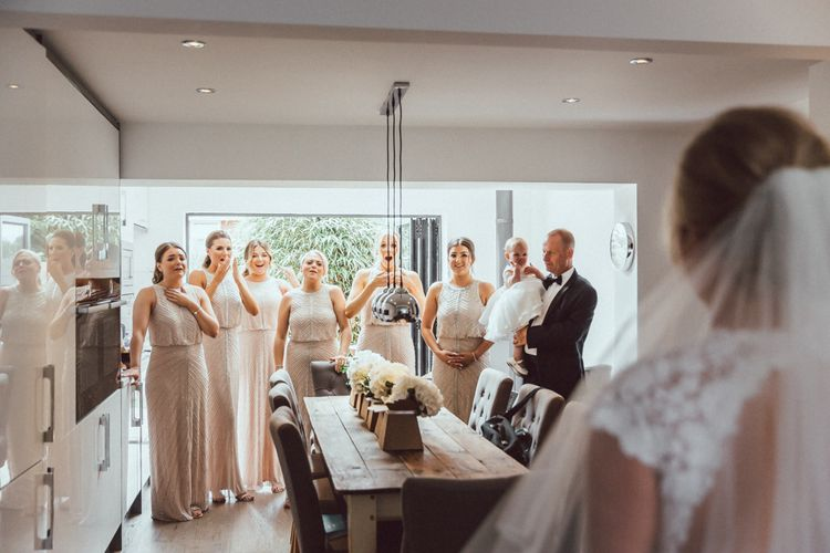 Bridesmaids In Pink Jenny Packham Dresses // The Vedrines Photography