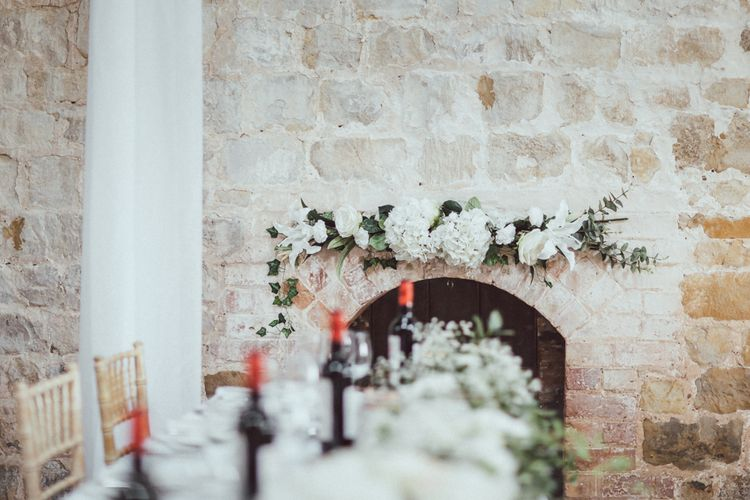 White Hydrangea Wedding Florals // Images By The Vedrines