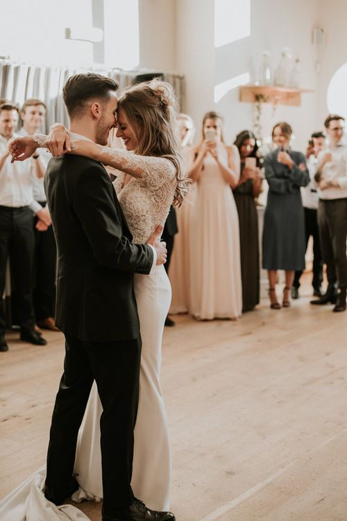 First Dance | Bride in Madison James Bridal Gown | Groom in Tuxedo | Millbridge Court, Surrey Wedding with DIY Decor, Foliage & Giant Balloons | Nataly J Photography