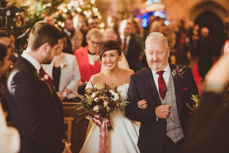 Church Wedding Ceremony | Bridal Entrance in Lillian West Bridal Separates | Groom in Navy Suit & Tweed Waistcoat | Burgundy & Gold Winter Wedding at Ramster Hall Weddings, Surrey | Matt Penberthy Photography | John Harris Wedding Films