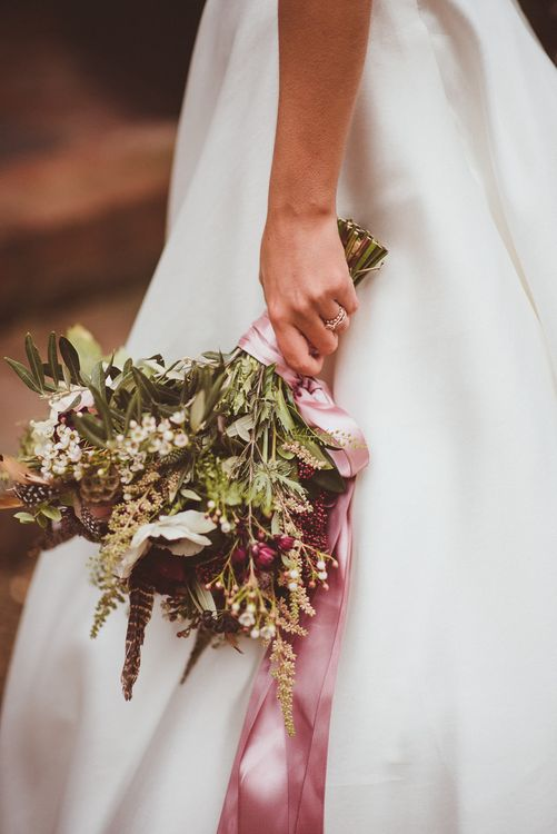 Winter Wedding Bouquet with Ribbons | Burgundy & Gold Winter Wedding at Ramster Hall Weddings, Surrey | Matt Penberthy Photography | John Harris Wedding Films