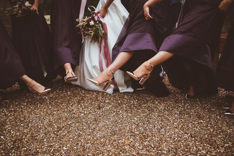 Rose Gold Bridal Party Shoes | Burgundy & Gold Winter Wedding at Ramster Hall Weddings, Surrey | Matt Penberthy Photography | John Harris Wedding Films