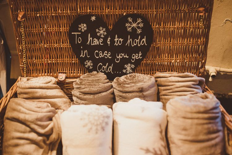 To Have & To Hold in Case You Get Cold Blanket Box | Wedding Decor | Burgundy & Gold Winter Wedding at Ramster Hall Weddings, Surrey | Matt Penberthy Photography | John Harris Wedding Films