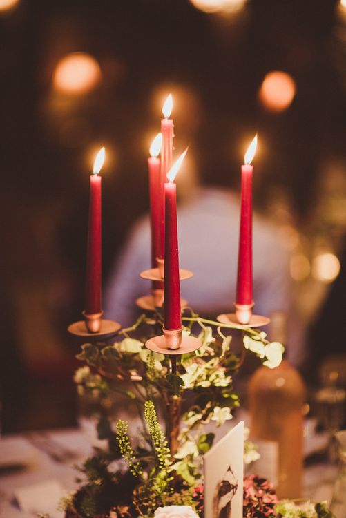 Candelabra with Tapper Candles | Burgundy & Gold Winter Wedding at Ramster Hall Weddings, Surrey | Matt Penberthy Photography | John Harris Wedding Films