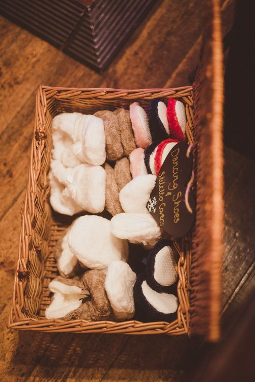 Box of Wedding Slippers for Tired Feet | Burgundy & Gold Winter Wedding at Ramster Hall Weddings, Surrey | Matt Penberthy Photography | John Harris Wedding Films