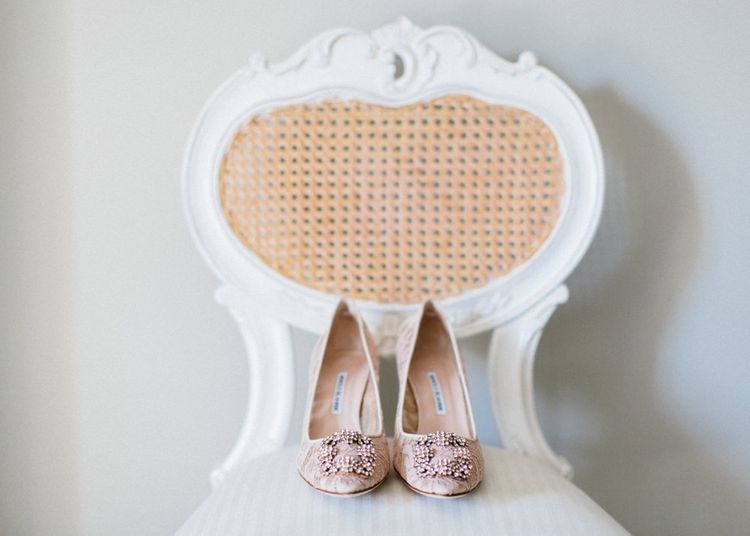 Shoe Detail | Papakata Sperry Tent Wedding at family home | Sassi Holford Dress with added ivory Ostrich feathers to veil | Manolo Blahnik shoes | Images by Melissa Beattie