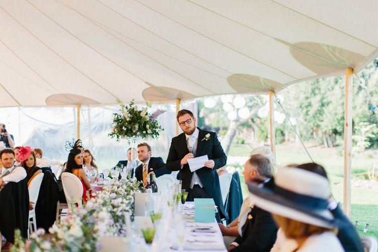 Speeched | Papakata Sperry Tent Wedding at family home | Sassi Holford Dress with added ivory Ostrich feathers to veil | Manolo Blahnik shoes | Images by Melissa Beattie