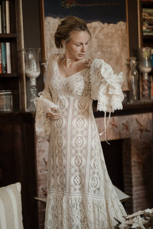 Bell sleeve wedding dress with lace detail